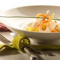 Tigrinės krevetės su kukurūzų koše, pagardinta sūrio Džiugas Mix Pasta