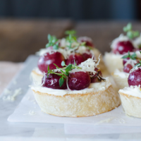 Bruschetta with Baked Grapes