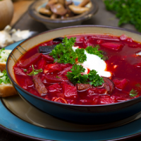 Beetroot Soup with Ceps